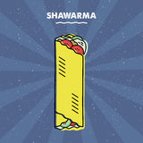 Panino di Shawarma, griglia, carne, menu del ristorante Immagine Stock