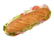 Panino di sottomarino del formaggio & del prosciutto Immagini Stock Libere da Diritti