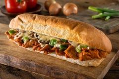 Panino di sottomarino piccante della carne di maiale del barbecue Immagini Stock Libere da Diritti