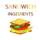 Panino ed i precedenti degli ingredienti dell'hamburger Alimenti a rapida preparazione Fotografia Stock