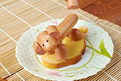 Panino fatto delle salsiccie del cane Fotografia Stock Libera da Diritti