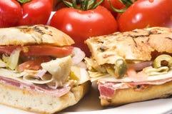 Panino gastronomico dell'italiano del prosciutto immagine stock