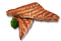 Panino isolato del formaggio e del prosciutto Immagini Stock Libere da Diritti