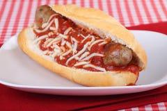 Panino italiano della salsiccia Immagine Stock