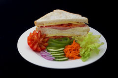 Panino-Prosciutto, formaggio ed insalata fresca Immagini Stock