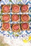 Panino quadrato con la salsiccia Fotografia Stock