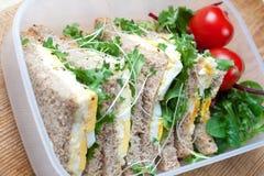 Panino sano dell'uovo per pranzo Fotografia Stock