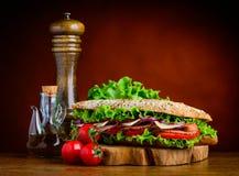 Panino saporito con le verdure e le spezie Fotografie Stock Libere da Diritti