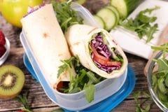 Panino, scatola di pranzo Fotografie Stock Libere da Diritti