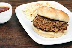 Panino tirato della carne di maiale su un panino immagini stock libere da diritti