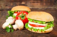 Panino vegetariano con i pomodori ed il formaggio freschi Fotografia Stock