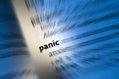PANIQUE - Attaque de panique Images stock