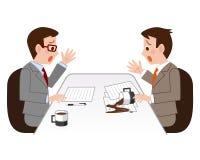 Panique d'homme d'affaires avec du café renversé illustration de vecteur