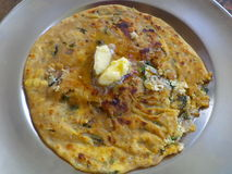 Panir paratha. Lying on a steel plate Royalty Free Stock Photography