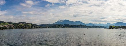 Paniramic view on Lucerne and Lake Lucerne, Switzerland royalty free stock image