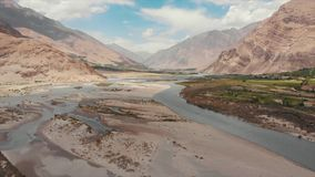 Panj River and Pamir Mountains, Panj Is Upper Part of Amu Darya River. Panoramic View, Tajikistan and Afghanistan Border. Areal Dron Shoot View of the Pamir stock video
