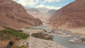 Panj River and Pamir Mountains, Panj Is Upper Part of Amu Darya River. Panoramic View, Tajikistan and Afghanistan Border stock video footage