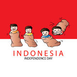 Indonesian Game traditional. Sack race Royalty Free Stock Photography