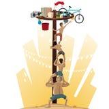 Panjat Pinang Pole Climbing stock illustration