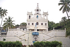 Panjim Church in Portuguese architecture with large bell. Ancient Heritage Church in Panjim Goa in Traditional Portuguese architectural style Stock Photo