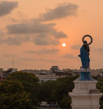 Panjim city view. View of Panjim city during sunset from the Our Lady of the Immaculate Conception Church stock images