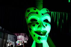 Panjim, India - View of Green Goblin Mask Art of the traditional Goa carnival on March 02, 2019. Carnival is celebrated in Goa royalty free stock photo