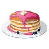 Pankcakes avec les myrtilles et le sirop d'érable Images libres de droits