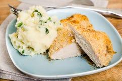 Panko chicken breast with mash potatoes Royalty Free Stock Photo