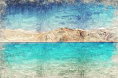 Pankongmeer Leh Ladakh India Digitaal Art Impasto Oil Painting stock fotografie