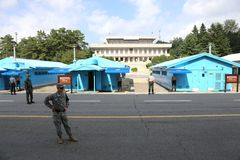Panmunjeom Demilitarized Zone Korea. South Korean soldiers were on patrol and guarded in the Demilitarized Zone DMZ Panmunjeom, which is the border between North Stock Images