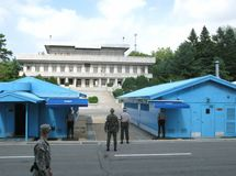 Panmunjeom Demilitarized Zone Korea. South Korean soldiers were on patrol  while North Korean generals stared and watched the zone in the Demilitarized Zone DMZ Stock Photos