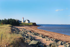 Panmure Island lighthouse. In the Atlantic shore of Prince Edward Island, Canada royalty free stock image