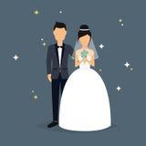 pannę młodą ceremonii ślub kościelny pana młodego Ślubny projekt nad popielatym tłem Obraz Royalty Free