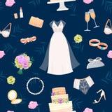 Pann młodych akcesoriów wektoru ustalone ślubne rzeczy dla małżeństwo ceremonii bridal sukni, buty, podwiązka, bukiet, przesłona, Fotografia Stock