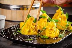 Panna-asiat kokkonstbegrepp Wontons av gul deg, köttfärs Japanska klimpar med köttfärs Portiondisk royaltyfri bild