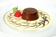 Panna cotta. Italian dessert chocolate panna cotta with strawberry Stock Image