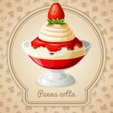 Panna cotta badge Stock Photos