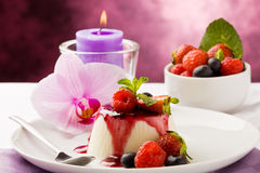 Panna Cotta with Berries Royalty Free Stock Photos
