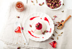 Panna cotta,with berry sauce. Italian dessert. Royalty Free Stock Images