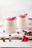 Panna cotta,with berry sauce. Italian dessert. Royalty Free Stock Photography