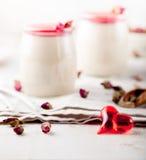 Panna cotta,with berry sauce. Italian dessert. Stock Photo