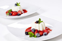 Panna Cotta And Blueberries Royalty Free Stock Photo