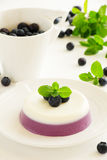 Panna cotta with blueberries. Royalty Free Stock Images