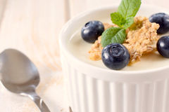 Panna cotta with blueberries Royalty Free Stock Photo