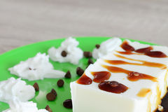 Panna cotta with caramel Royalty Free Stock Images