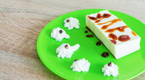 Panna cotta with caramel and cream Royalty Free Stock Images