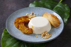 Panna cotta with caramelised pineapple and coconut biscuit. Panna cotta with caramel sauce, caramelised pineapple and coconut biscuit royalty free stock photography