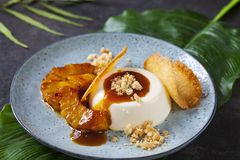 Panna cotta with caramelised pineapple and coconut biscuit. Panna cotta with caramel sauce, caramelised pineapple and coconut biscuit royalty free stock photo
