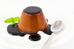 Panna cotta with chocolate Stock Image