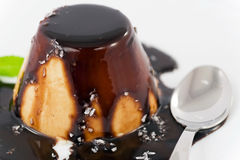 Panna cotta with chocolate topping  and coconut Royalty Free Stock Image